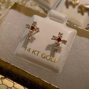 14k Gold Cross Earrings 🙏🌟✨